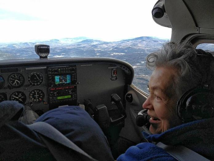 Janet Bailey, 82, during a private flight on a Cessna 172 airplane that departed from Lebanon Municipal Airport on Monday, Jan. 21. Photo by Maggie Cassidy for the Valley News.